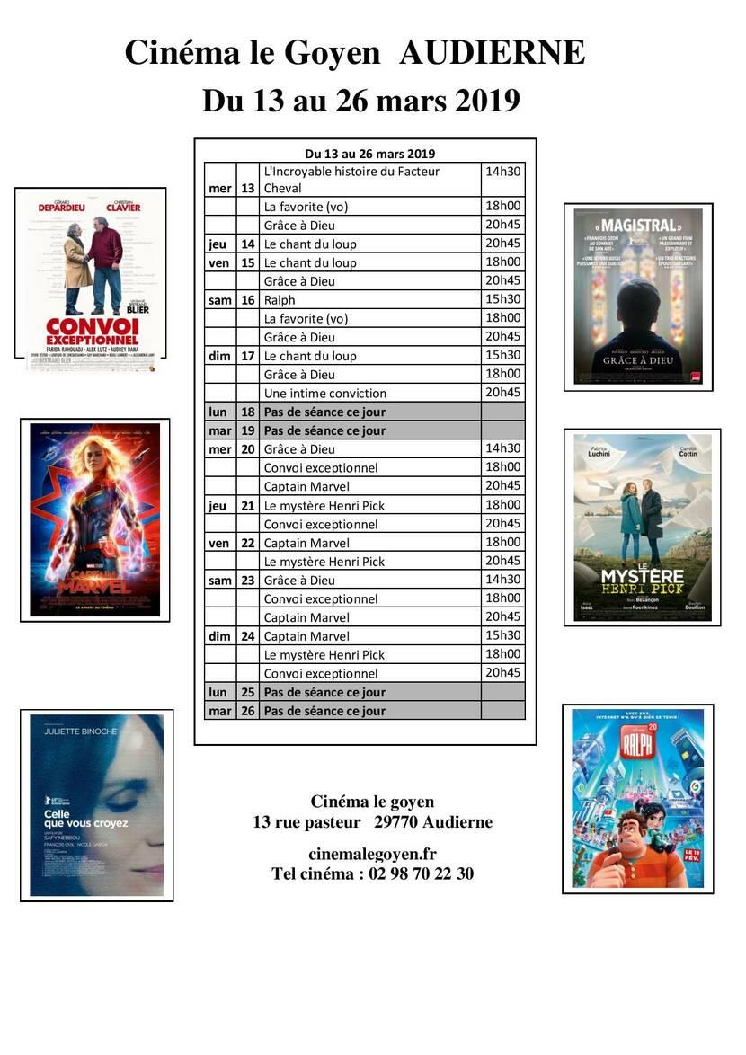 Programme cinéma Le Goyen du 13 au 26 mars 2019